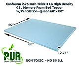 "Confourm 2.75 Inch Thick 4 LB High Density GEL Memory Foam Bed Topper w/Ventilation-Queen 60"" x 80"""