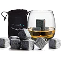12 x Whiskey Stones Chilling Rocks Granite Ice Cube Stones - Drinks Cooler Cubes for Whisky Scotch on the Rocks Gift with a Storage Pouch by The Kitchen Gift Company