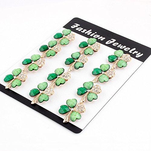 3.12cm Demarkt 1pcs Broche /à Quatre Feuilles Broches Strass Cristal Corsage Pins Cadeau Mode Bijoux D/écoration de V/êtement(Vert) 2.75