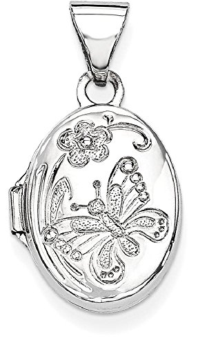 ICE CARATS 14k White Gold Butterfly Oval Photo Pendant Charm Locket Chain Necklace That Holds Pictures by ICE CARATS