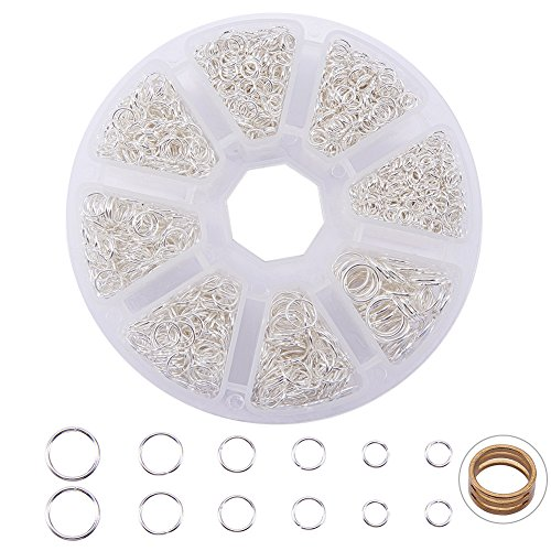PandaHall Elite About 2800 Pcs Jump Rings Diameter 4-10mm Iron Jewelry Connectors Chain Links Silver with Box Set Value Pack