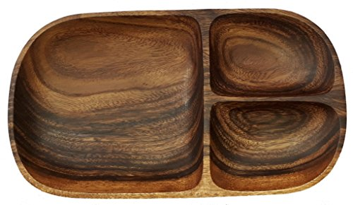 WETHEFOUNDERS Acacia Wood Oval Tray with 3 Sections, 12