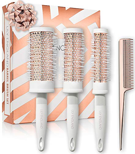 Round Brush Set – Radial Blow Drying Barrel Hairbrush Set & Tail Comb by Lily England – White & Rose Gold