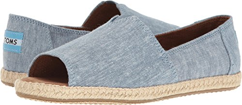 TOMS Women's Alpargata Open Toe Blue Slub Chambray Sandal