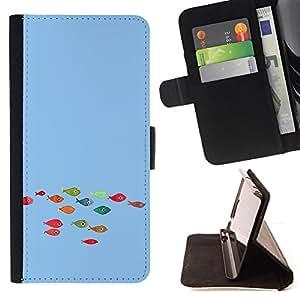 BullDog Case - FOR/Apple Iphone 6 / - / Funny Colorful Koi Fish /- Monedero de cuero de la PU Llevar cubierta de la caja con el ID Credit Card Slots Flip funda de cuer