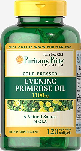 Puritans Pride Evening Primrose Oil 1300 mg with Gla Softgels, 120 Count ()