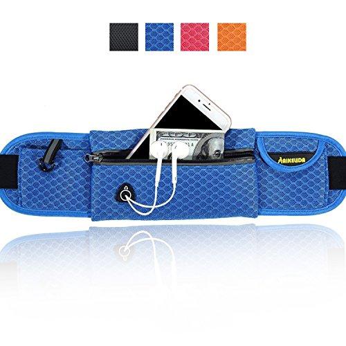 AIKELIDA Running Belt / Travel Wallet / Running Bag / Money Belt / Running Fuel Belt for iPhone , Samsung Galaxy - for Men, Women during Workouts, Fitness, Cycling, Hiking, Walking, Running - Blue