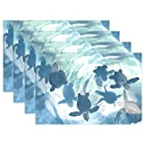 Naanle Ocean Marine Animal Placemat Set of 6, Sea Turtles Heat-resistant Washable Table Place Mats for Kitchen Dining Table Decoration