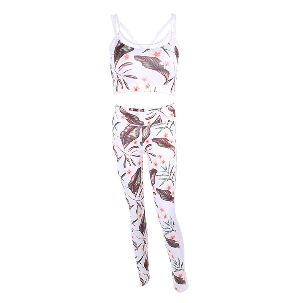 bilang Women Yoga Bra And Pants Fitness Yoga Set Flower Printed Sport Wear Workout Gym M Size
