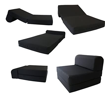 Du0026D Futon Furniture Black Sleeper Chair Folding Foam Bed Sized 6u0026quot;  Thick X 32u0026quot;