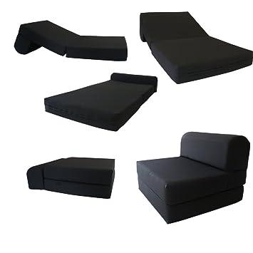 Superieur Black Sleeper Chair Folding Foam Bed Sized 6u0026quot; Thick X 32u0026quot; Wide X  70u0026quot