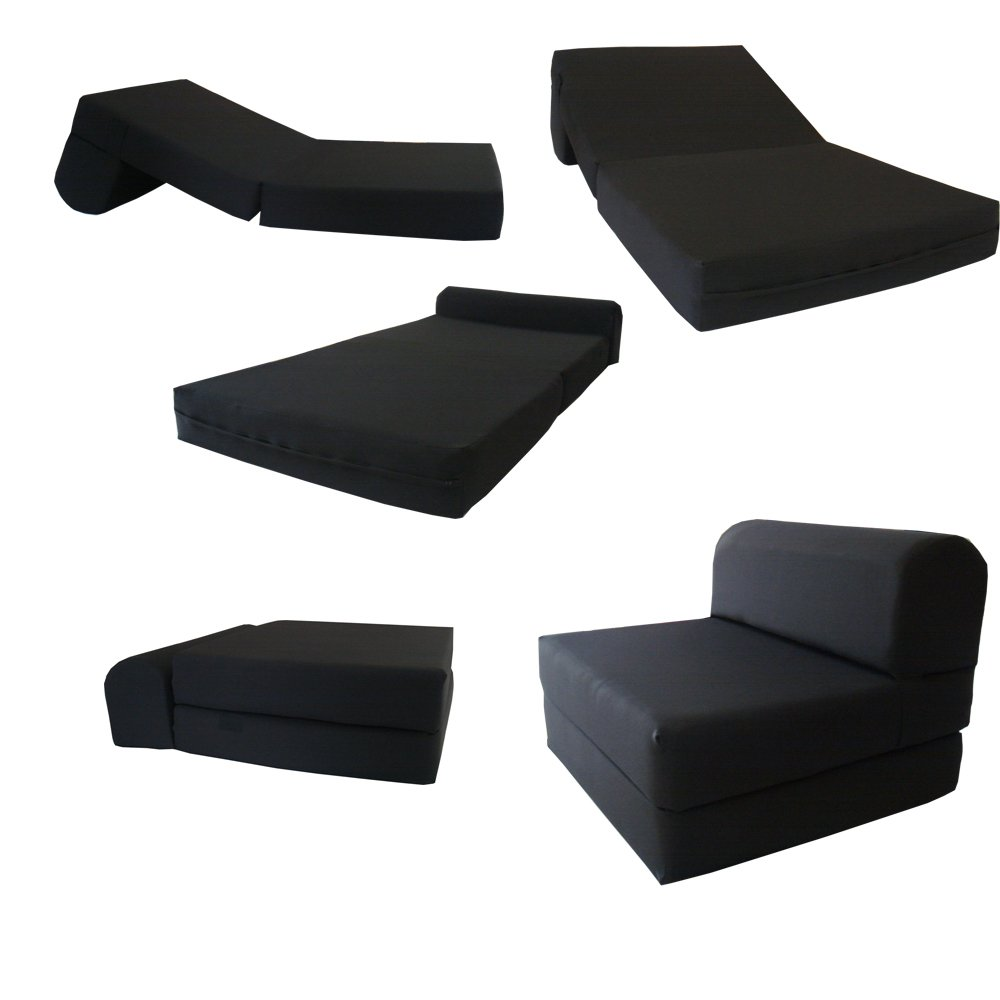 Black Sleeper Chair Folding Foam Bed Sized 6'' Thick X 32'' Wide X 70'' Long, Studio Guest Foldable Chair Beds, Foam Sofa, Couch, High Density Foam 1.8 Pounds. by Futonfurnitures