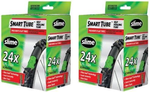 Slimeスマートチューブシュレーダーバルブ自転車チューブ(24x 1.75を2.125)、2パックby Slime