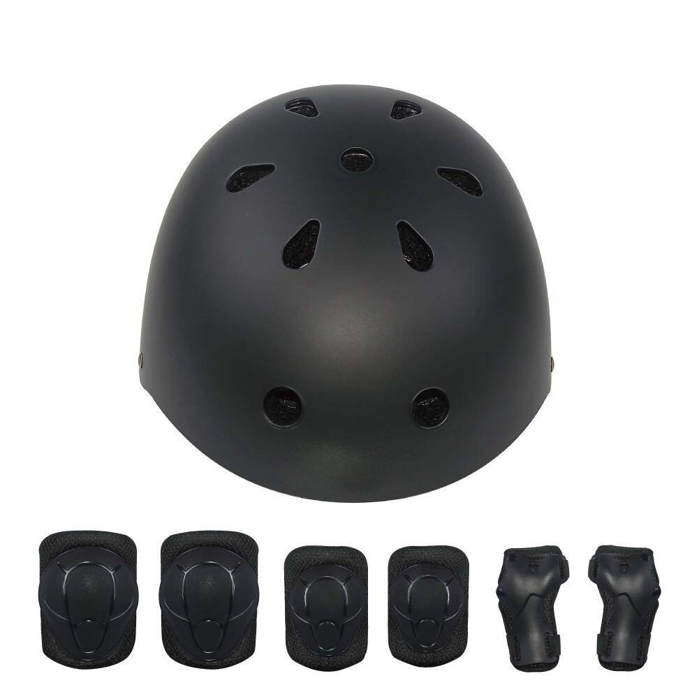 KYVIGOR Kids 7Pcs Protective Gear with Helmet,Sports Safety Equipment Child Helmet Pads of Wrist Elbow Knee, for Skateboarding, Cycling and Other Sports Activities 3-7Years Old Black