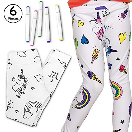 Girls DIY Leggings Color Your Own Athletic Leggings Craft Kit with Fabric Markers(Unicorn/Rainbow, XS)