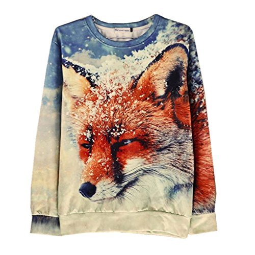 Unisex hipster Sweater Novelty Snow FOX Casual 3D Moleton Sweatshirt - Where To Hipster Get Glasses