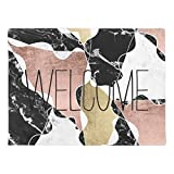 Rose Gold Black White Marble Color Block Geometric Natural Rubber Doormat 16 by 24 Inch