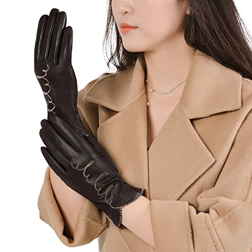 GSG Womens Winter Warm Gloves Sexy Leather Gloves Lady Full Finger Waves Brown 7.5 ()