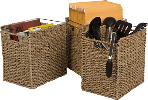 Trademark Innovations Rattan Woven Decorative File Folder Basket - Set of 3 by ()