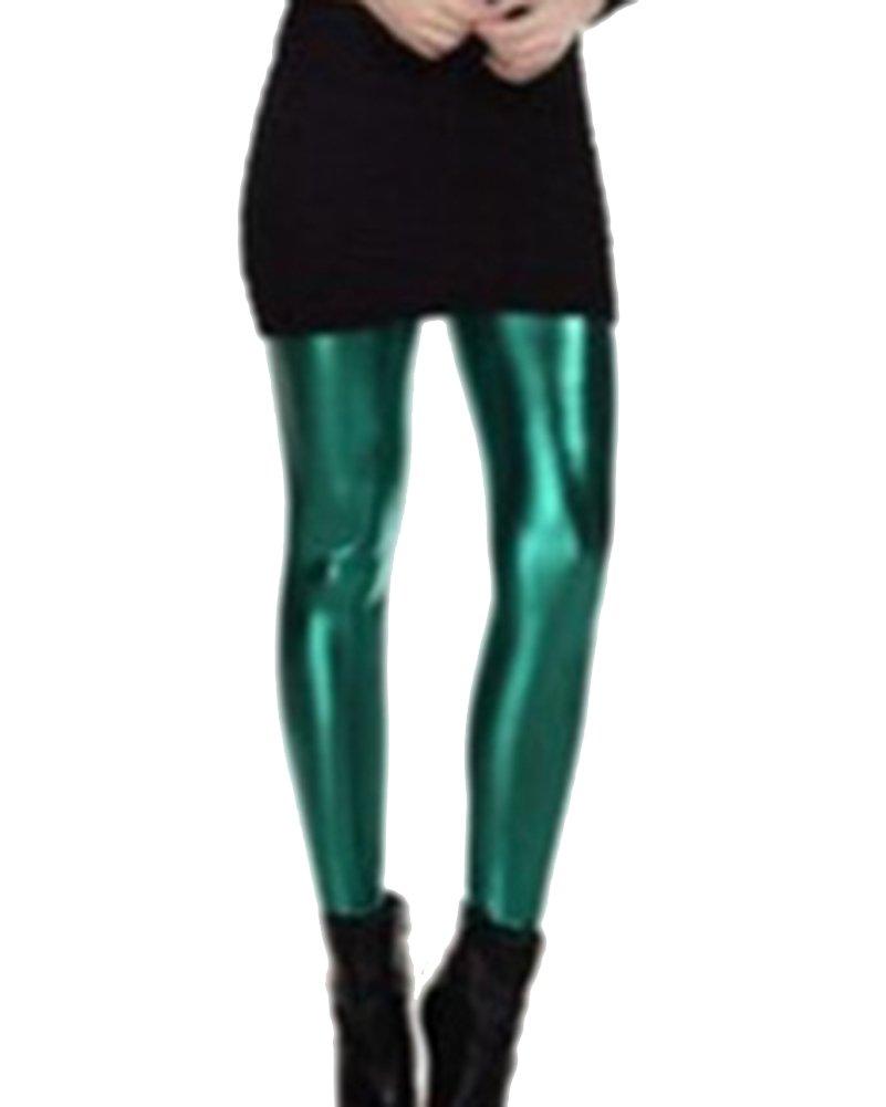 Guiran Donna Leggings Metallizzati Lucidi Push Up Eleganti Leggins Skinny Pantalone Vita Alta