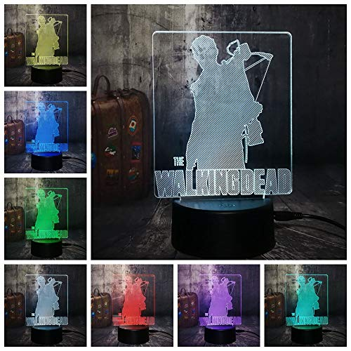ng Dead Daryl Dixon Cool 3D LED Night Light Desk Lamp RGB 7 Color Home Decor U.S.TV Drama Fans Christmas Gift Lava ()