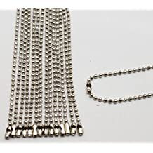 Amanaote Silvery 2.4 mm Diameter Ball Chain 250 mm Length Metal Bead Chain for Pendant Pack of 30