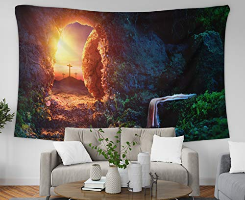 Asdecmoly Easter Tapestry Printing Wall Hanging Tapestries for Living Room and Bedroom 80 Lx60 W Inches Crucifixion Sunrise Empty with of Jesus Christ Tomb Shroud Resurrection Art Printing Inhouse