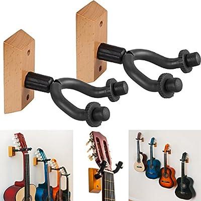 Fineway® - Soporte de pared para guitarra de madera, resistente, 2 ...