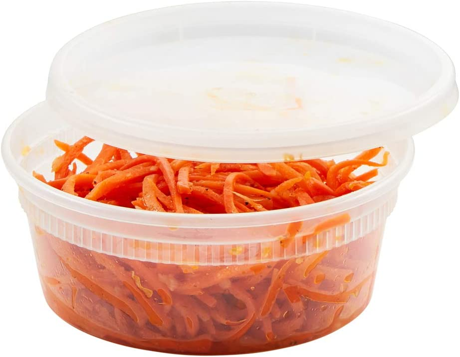 (48 Pack) 8 oz Plastic Soup Containers with Lids, Heavy Duty Deli Food Storage/Take Out Containers, Microwavable, Leakproof