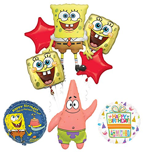 Spongebob Squarepants and Patrick Birthday Party Supplies and Balloon Bouquet Decorations