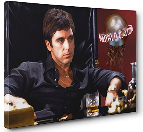 AL PACINO SCARFACE THE WORLD IS YOURS CANVAS PRINT POSTER PAINTING PHOTO WALL ART (32x48in.)
