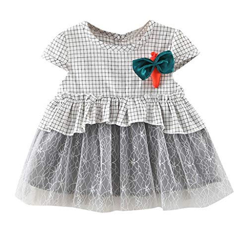 6M-24M Toddler Baby Girls Dresses Ruched Lace Patchwork Tulle Skirt Carrots Bowtie Party Princess Dresses (Gray, 90)