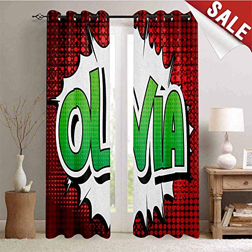 Hengshu Olivia Window Curtain Fabric Retro Comic Book Burst with Common Women`s Given Name Teenager Design Drapes for Living Room W108 x L96 Inch Ruby Green and White