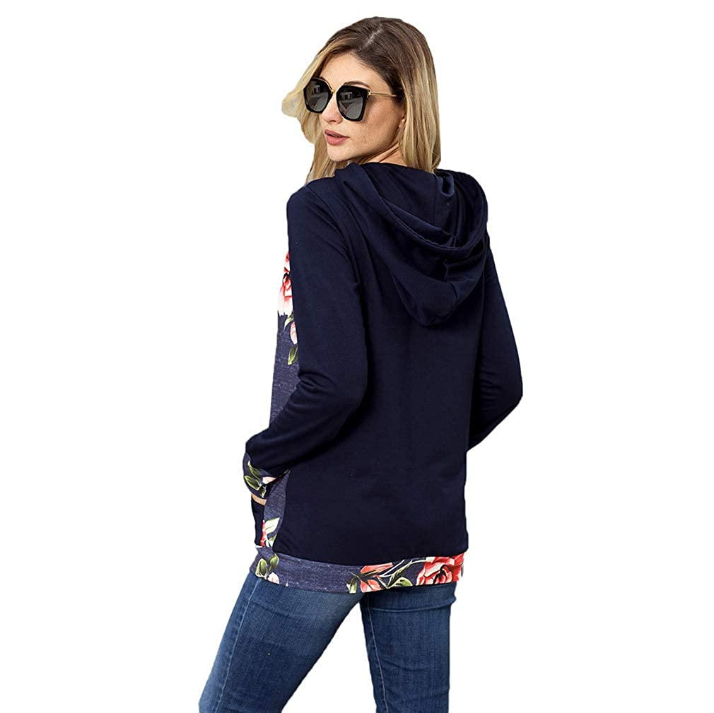 Zhongke Sudadera con Capucha de Manga Larga Floral para Mujer Bolsillo túnica Casual túnica Superior: Amazon.es: Ropa y accesorios