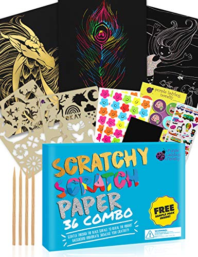Purple Ladybug Scratch Paper Art Set for Kids – 36 Full Sized Sheets with 3 Unique Colors: Rainbow, Gold, Silver…