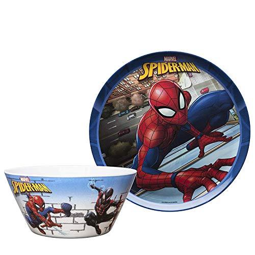 Zak Designs SDNU-0660-AMZ Spiderman Durable Melamine Plate + Bowl Set Spiderman