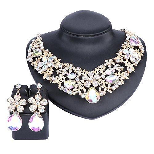 (Austrian Crystal Rhinestone Bridal Wedding Necklace Earrings Jewelry Sets for Women (AB))
