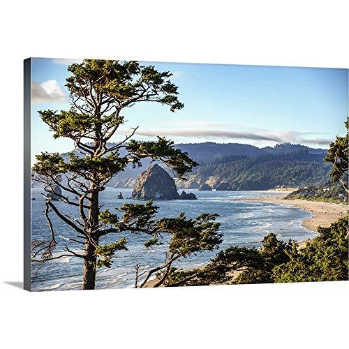 - Cannon Beach Landscape, Haystack Rock, Oregon Canvas Wall Art Print, 36
