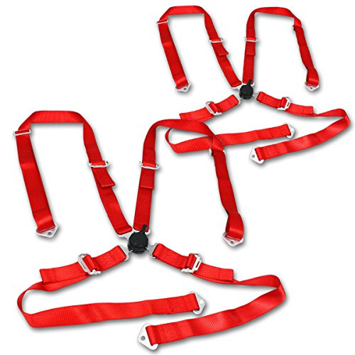 Universal Red Nylon Racing Seat Belt 4-Point Quick Release Camlock Set Pack of 2 ()