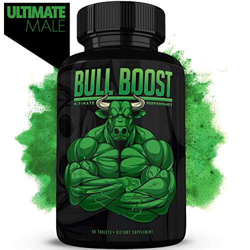 Bull Boost Male Testosterone Booster (1 Month Supply) – Enlargement Booster for Men – Increase Size, Strength, Stamina – Energy, Mood, Endurance Boost – All Natural Enhancing Supplement – Made in USA