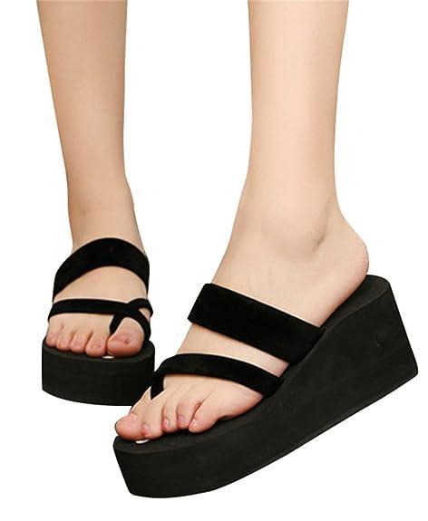 363a6a534dd6 C-Pioneer Women Summer Platform High Heel Flip Flops Wedges Slipper Girls  Sandals Beach Shoes  Amazon.ca  Shoes   Handbags