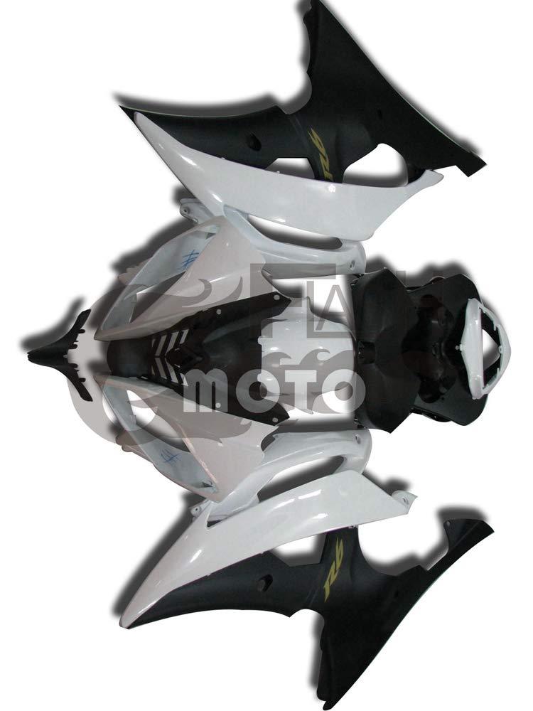 FlashMoto yamaha ヤマハ R6 YZF-600 2008 2009 2010 2011 2012 2013 2014 2015用フェアリング 塗装済 オートバイ用射出成型ABS樹脂ボディワークのフェアリングキットセット (ホワイト,ブラック)   B07LF2V8VB