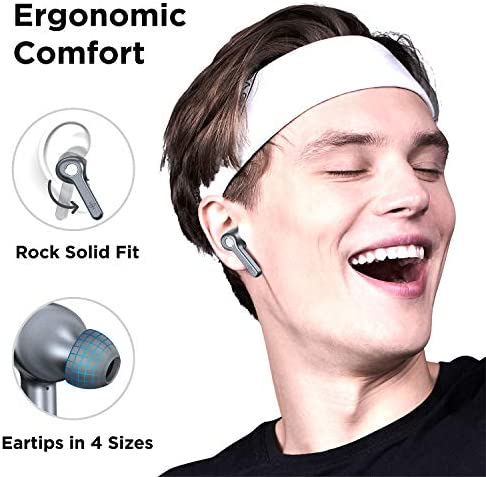 Wireless Earbuds | Boltune Bluetooth 5.0 Earbuds | 40 Hr Playing Time | USB-C Quick Charge | IPX8 Waterproof |Stereo Sound Deep Bass Bluetooth Headphones | Built-in Mic - Grey 9