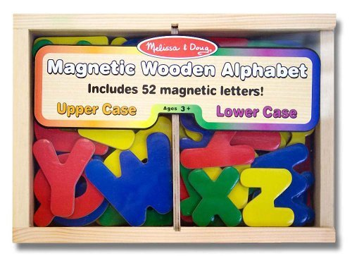Alphabet Wooden 52 Magnets-in-a-Box Gift Set + FREE Melissa