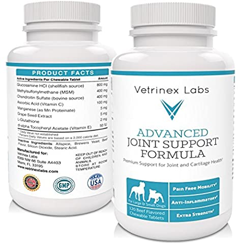Vet Approved Joint Supplement for Dogs - 120 Extra Strength Glucosamine Chewable Tablets with Chondroitin and MSM - Effective. Easy to Feed - Best for Large Dogs - Arthritis & Hip Care - 90 Chewable Tabs
