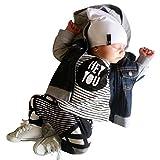 Overdose Baby Jungen Outfit Kleidung Streifen-Druck-Hemd-Oberseiten + lange Hosen Hose 6-24 Monate (0-6M, Schwarz)