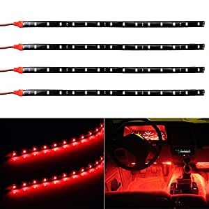 Partsam 4pcs Red Led Strip Lights Interior Glow Neon Lighting Car Truck Suv 30cm