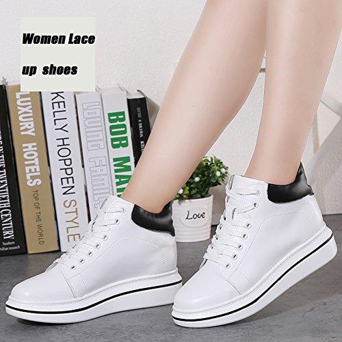 ... Stq Donne Scarpe Stringate In Pelle Alta Moda Casual Sneakers Studente  Leggero Bianco ... 0cff006d232