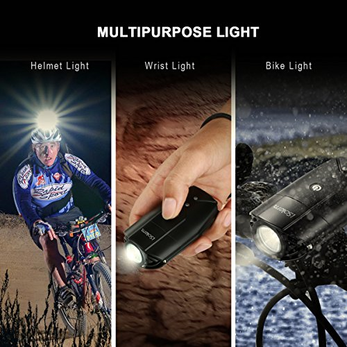 iSolem Rechargeable LED Bike Light Set, 3-Mode Bicycle Headlight and Taillight Combinations, IP65 Waterproof Front and Rear Cycling safety Flashlight - Easy to Install for Kids and Adults by iSolem (Image #5)
