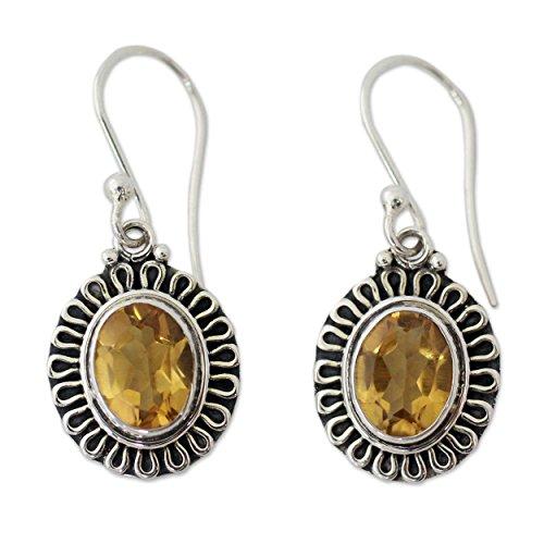 NOVICA Citrine .925 Sterling Silver Dangle Earrings, Golden Charm'